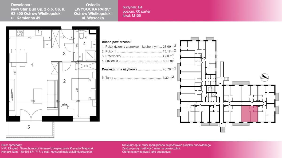 Mieszkanie dwupokojowe na sprzedaż Ostrów Wielkopolski, Wysocka  49m2 Foto 1