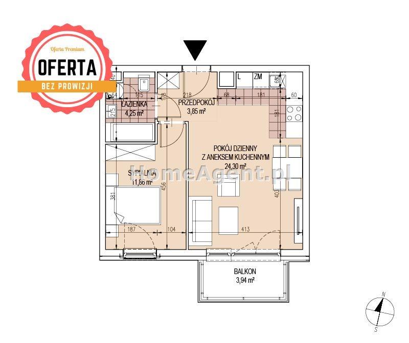 Mieszkanie dwupokojowe na sprzedaż Kraków, Podgórze, Bonarka  44m2 Foto 5