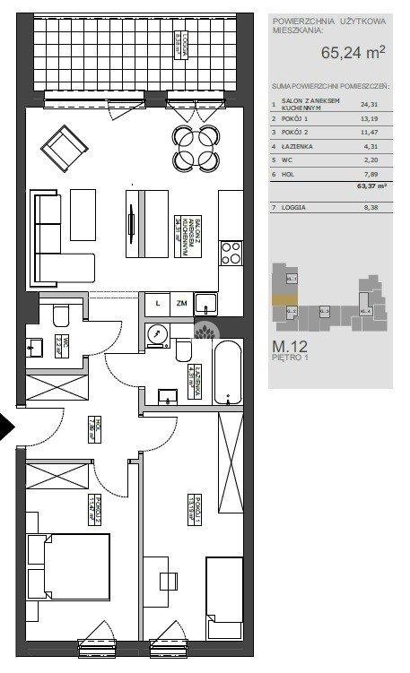 Mieszkanie trzypokojowe na sprzedaż Bydgoszcz, Bartodzieje Wielkie, Ceramiczna  65m2 Foto 9