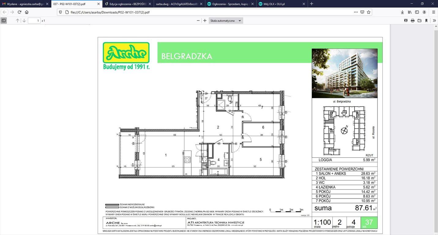 Mieszkanie czteropokojowe  na sprzedaż Warszawa, Ursynów, Belgradzka 3  88m2 Foto 15