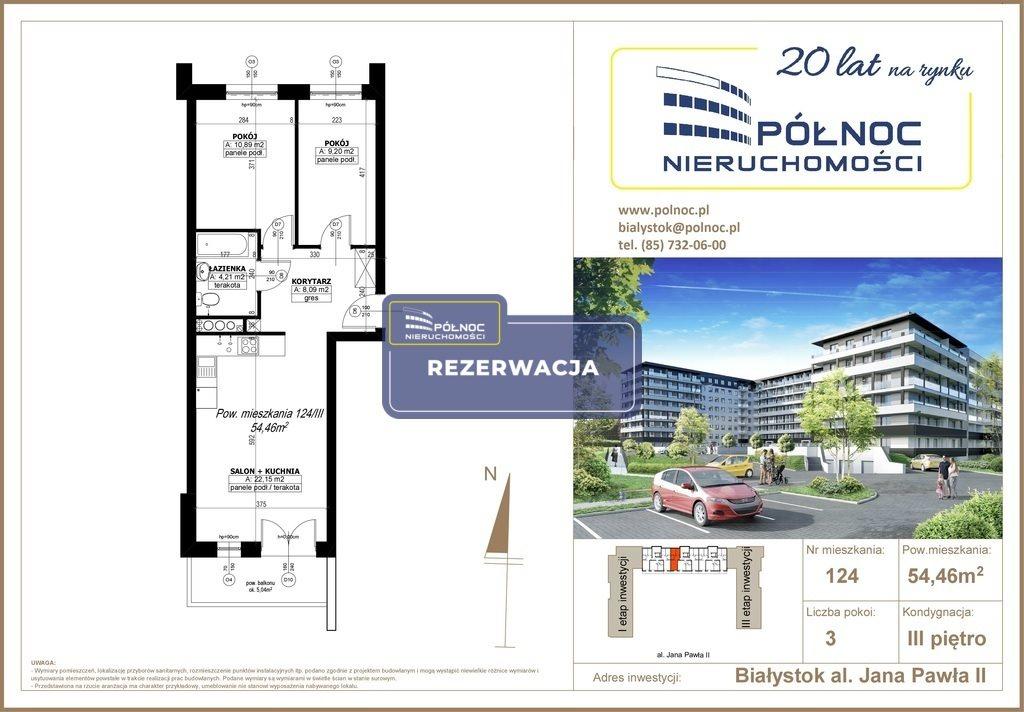 Mieszkanie trzypokojowe na sprzedaż Białystok, Antoniuk, al. Jana Pawła II  54m2 Foto 1