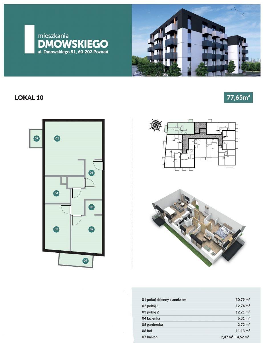 Mieszkanie trzypokojowe na sprzedaż Poznań, Górczyn, Romana Dmowskiego  78m2 Foto 2