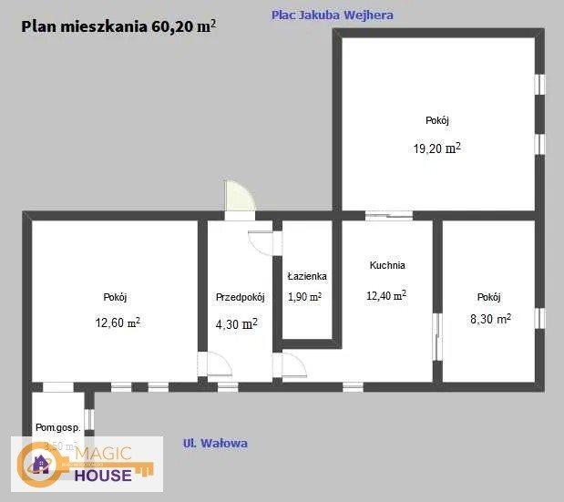 Mieszkanie trzypokojowe na sprzedaż Wejherowo, Jakuba Wejhera  62m2 Foto 9