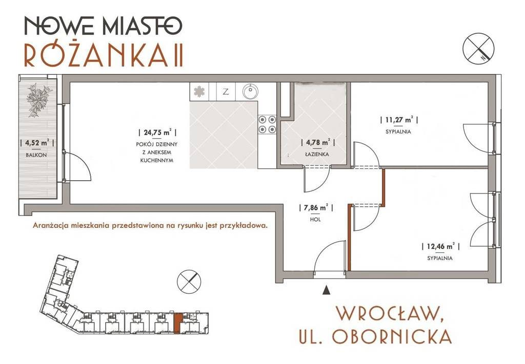 Mieszkanie trzypokojowe na sprzedaż Wrocław, Obornicka  62m2 Foto 1