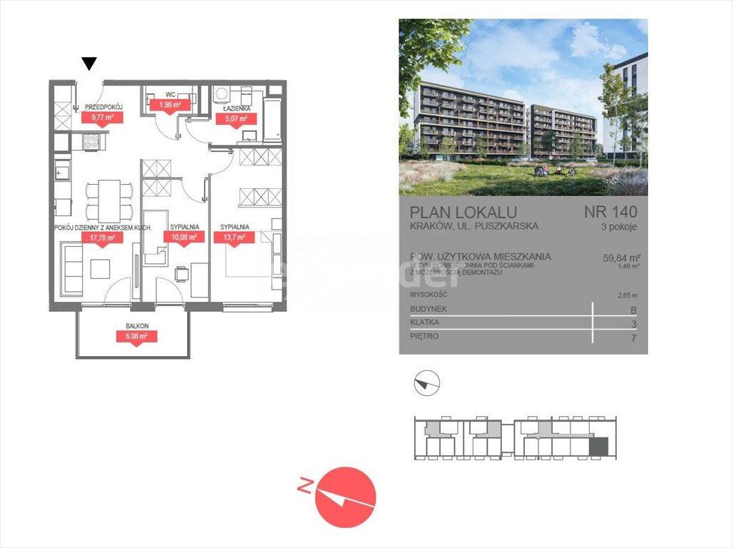Mieszkanie trzypokojowe na sprzedaż Kraków, Bonarka, Puszkarska  60m2 Foto 4