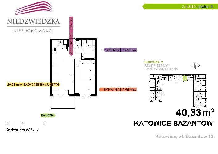 Mieszkanie dwupokojowe na sprzedaż Katowice, Piotrowice, Bażantów  40m2 Foto 1