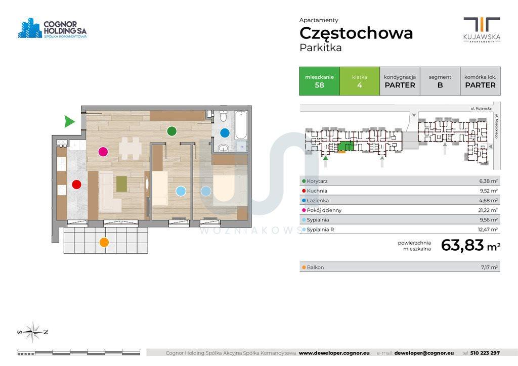 Mieszkanie trzypokojowe na sprzedaż Częstochowa  64m2 Foto 2