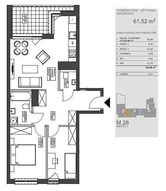 Mieszkanie trzypokojowe na sprzedaż Bydgoszcz, Bartodzieje Wielkie, Ceramiczna  61m2 Foto 9