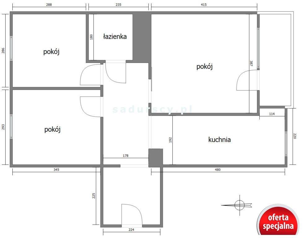 Mieszkanie trzypokojowe na sprzedaż Kraków, Mistrzejowice, Mistrzejowice, os. Bohaterów Września  60m2 Foto 3