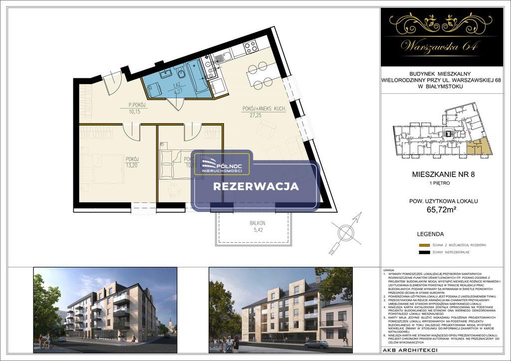 Mieszkanie trzypokojowe na sprzedaż Białystok, Os. Centrum, Warszawska  66m2 Foto 1