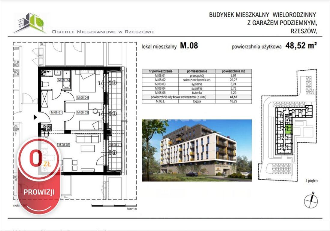 Mieszkanie trzypokojowe na sprzedaż Rzeszów, Krakowska  49m2 Foto 5