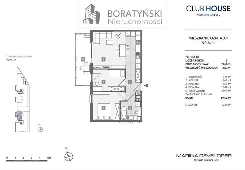 Mieszkanie trzypokojowe na sprzedaż Szczecin, Dąbie, Dąbie, Przestrzenna  60m2 Foto 4