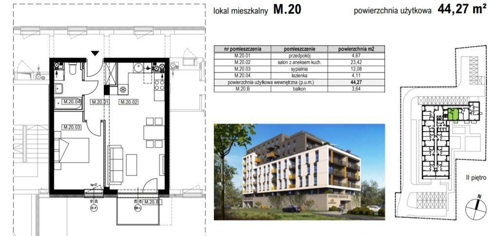 Mieszkanie dwupokojowe na sprzedaż Rzeszów, Krakowska  44m2 Foto 2