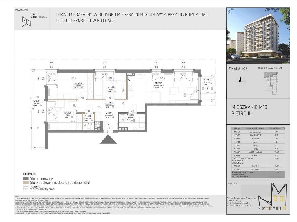 Mieszkanie czteropokojowe  na sprzedaż Kielce, KSM, Romualda/Leszczyńska  73m2 Foto 4
