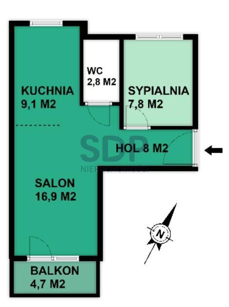 Mieszkanie dwupokojowe na sprzedaż Wrocław, Krzyki, Księże Małe, Księska  45m2 Foto 2