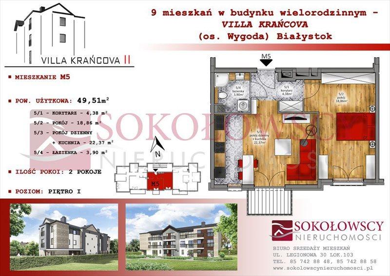 Mieszkanie dwupokojowe na sprzedaż Białystok, Wygoda, Krańcowa  49m2 Foto 1