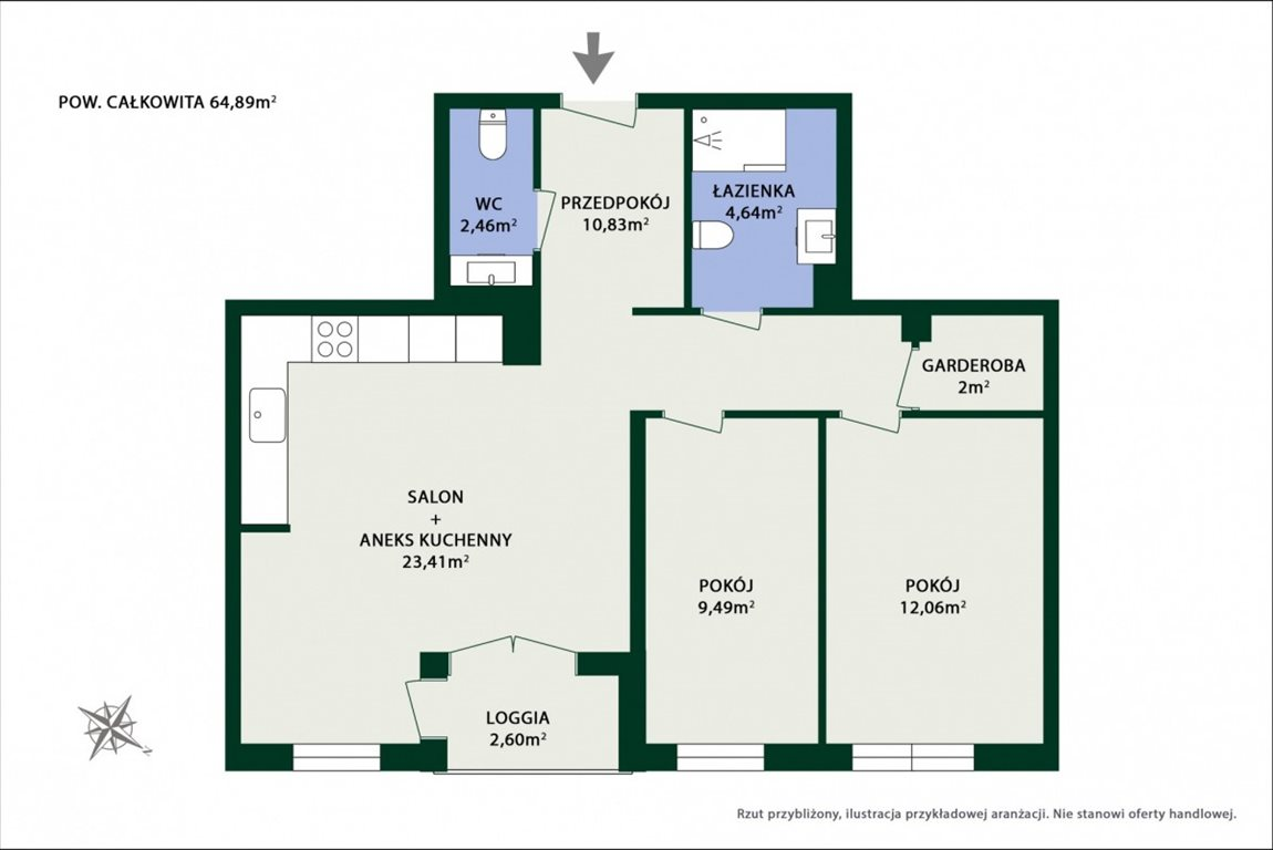 Mieszkanie trzypokojowe na sprzedaż Ząbki, Calineczki  65m2 Foto 10