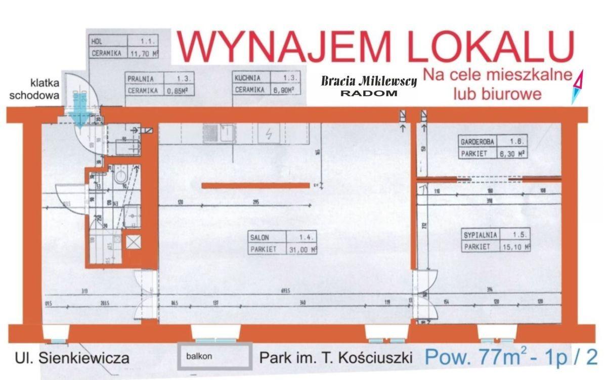 Mieszkanie dwupokojowe na wynajem Radom, Henryka Sienkiewicza  76m2 Foto 5