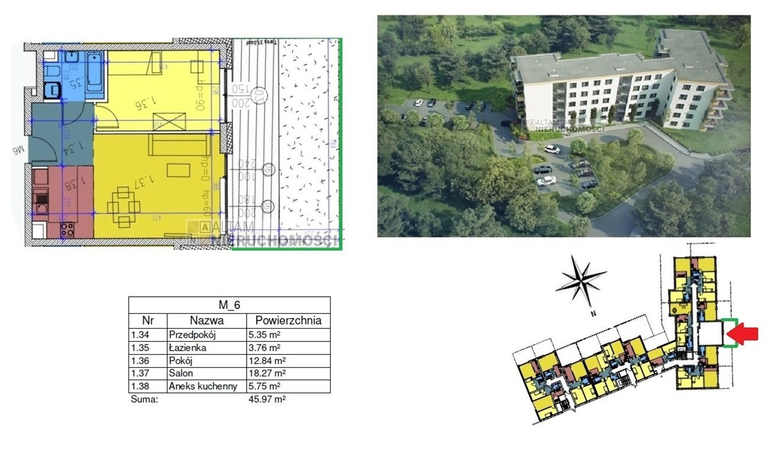 Mieszkanie dwupokojowe na sprzedaż Kraków, Czyżyny  46m2 Foto 1