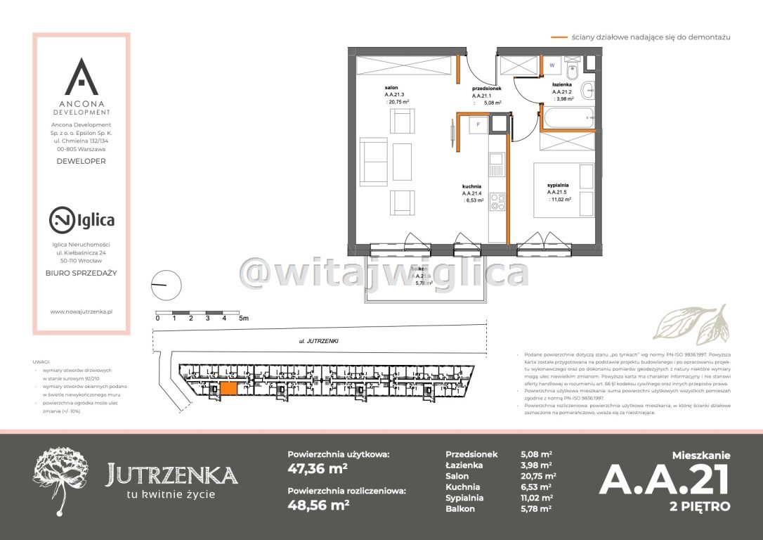 Mieszkanie dwupokojowe na sprzedaż Wrocław, Krzyki, Klecina, Jutrzenki  49m2 Foto 2