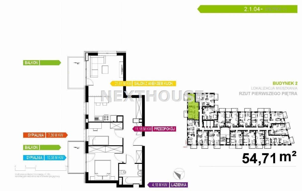 Mieszkanie trzypokojowe na sprzedaż Gliwice, Stare Gliwice  55m2 Foto 2