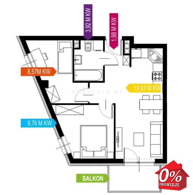 Mieszkanie trzypokojowe na sprzedaż Kraków, Prądnik Biały, Prądnik Biały, Kazimierza Wyki - okolice  44m2 Foto 3