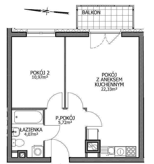 Mieszkanie dwupokojowe na sprzedaż Wrocław, Psie Pole, Kaparowa 19  46m2 Foto 9