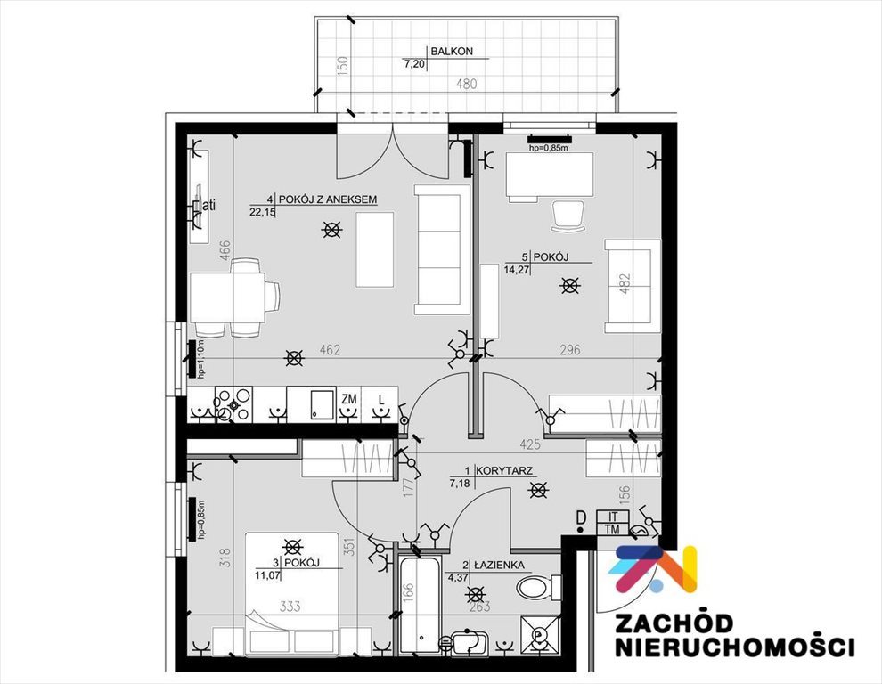 Mieszkanie trzypokojowe na sprzedaż Zielona Góra, Osiedle Śląskie  57m2 Foto 7