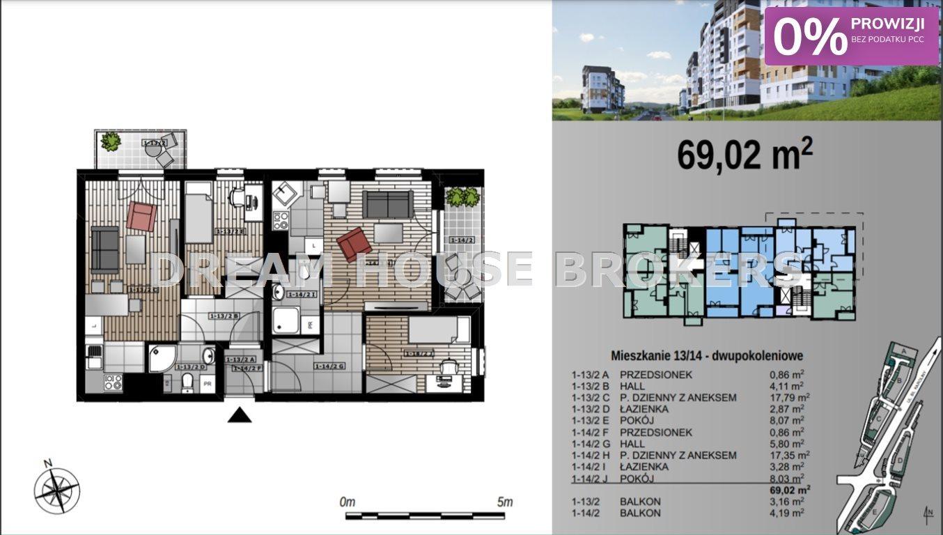 Mieszkanie czteropokojowe  na sprzedaż Rzeszów, Przybyszówka, Karoliny  69m2 Foto 5
