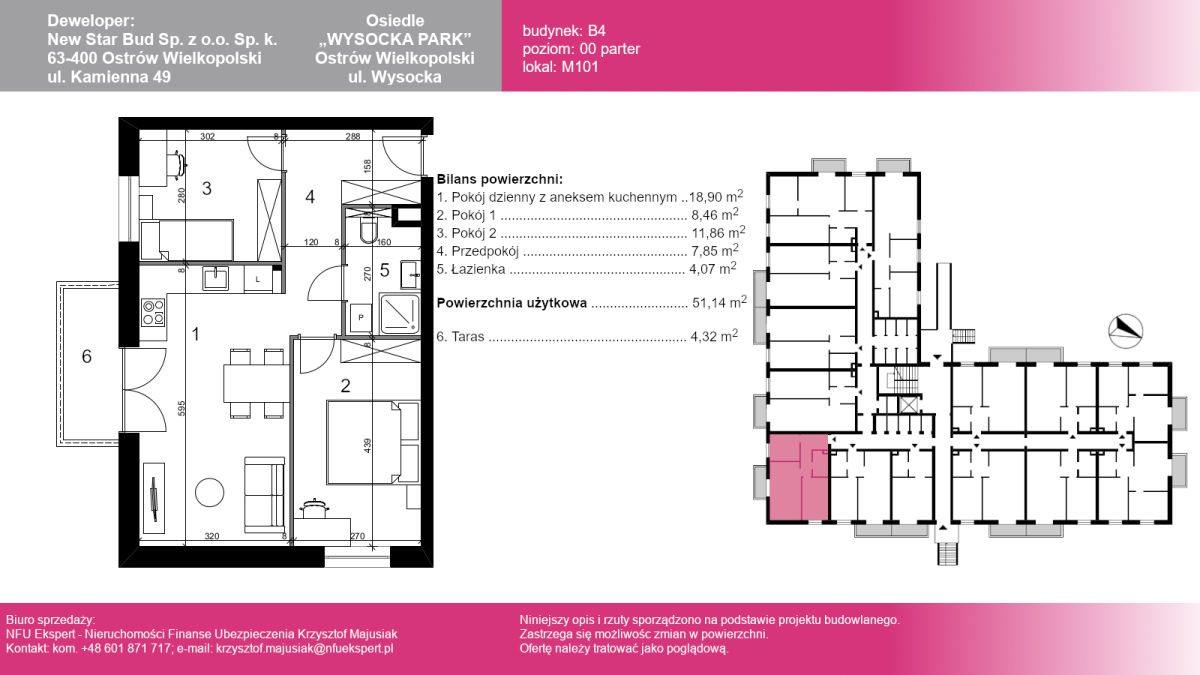 Mieszkanie trzypokojowe na sprzedaż Ostrów Wielkopolski, Wysocka  51m2 Foto 1