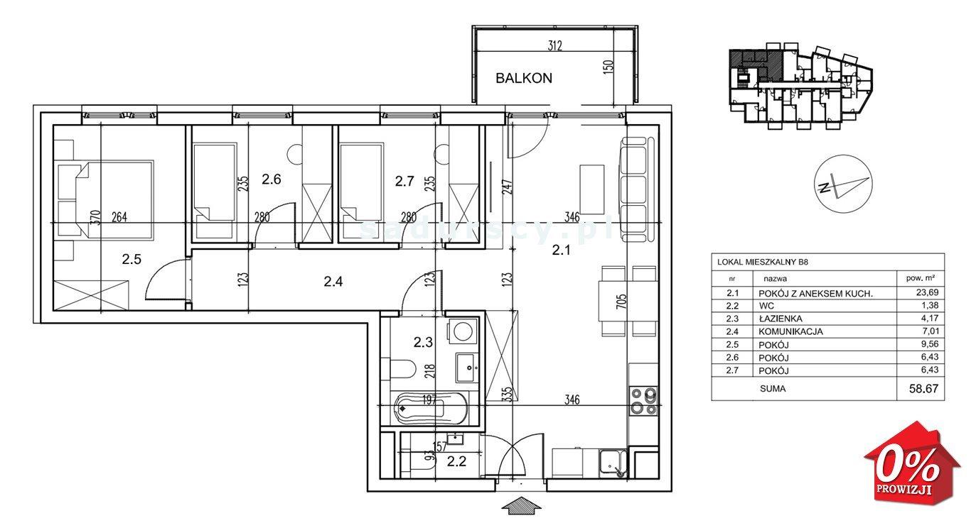 Mieszkanie czteropokojowe  na sprzedaż Kraków, Podgórze, Płaszów, Saska -  okolice  59m2 Foto 3