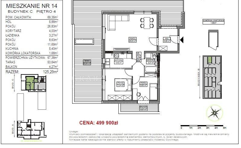 Mieszkanie trzypokojowe na sprzedaż Bydgoszcz, Okole  69m2 Foto 2