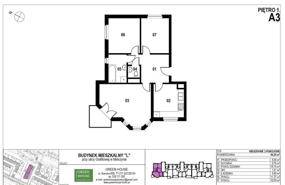 Mieszkanie trzypokojowe na sprzedaż Mierzyn, Grafitowa  66m2 Foto 1