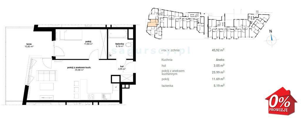 Mieszkanie dwupokojowe na sprzedaż Kraków, Prądnik Czerwony, Olsza, Lublańska - okolice  47m2 Foto 3