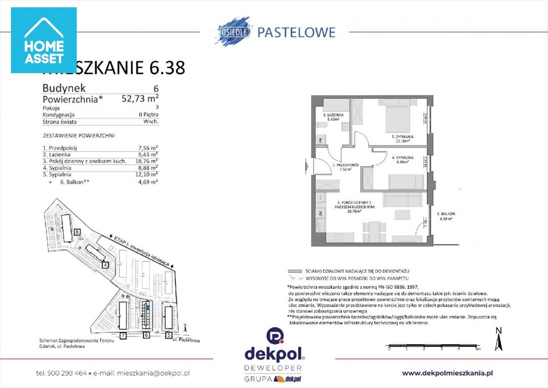 Mieszkanie trzypokojowe na sprzedaż Gdańsk, Łostowice, Pastelowa  53m2 Foto 2