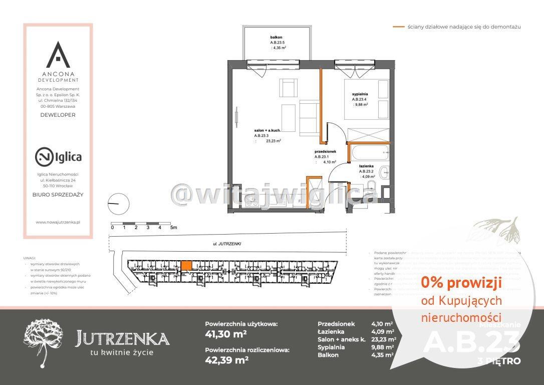 Mieszkanie dwupokojowe na sprzedaż Wrocław, Krzyki, Klecina, Jutrzenki  41m2 Foto 2