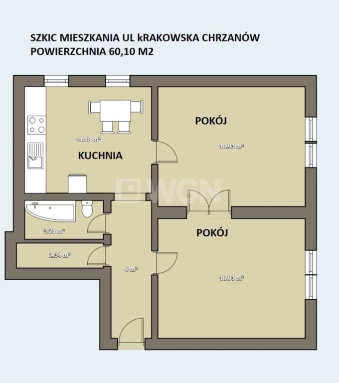 Mieszkanie dwupokojowe na sprzedaż Chrzanów, Centrum, Krakowska  60m2 Foto 2