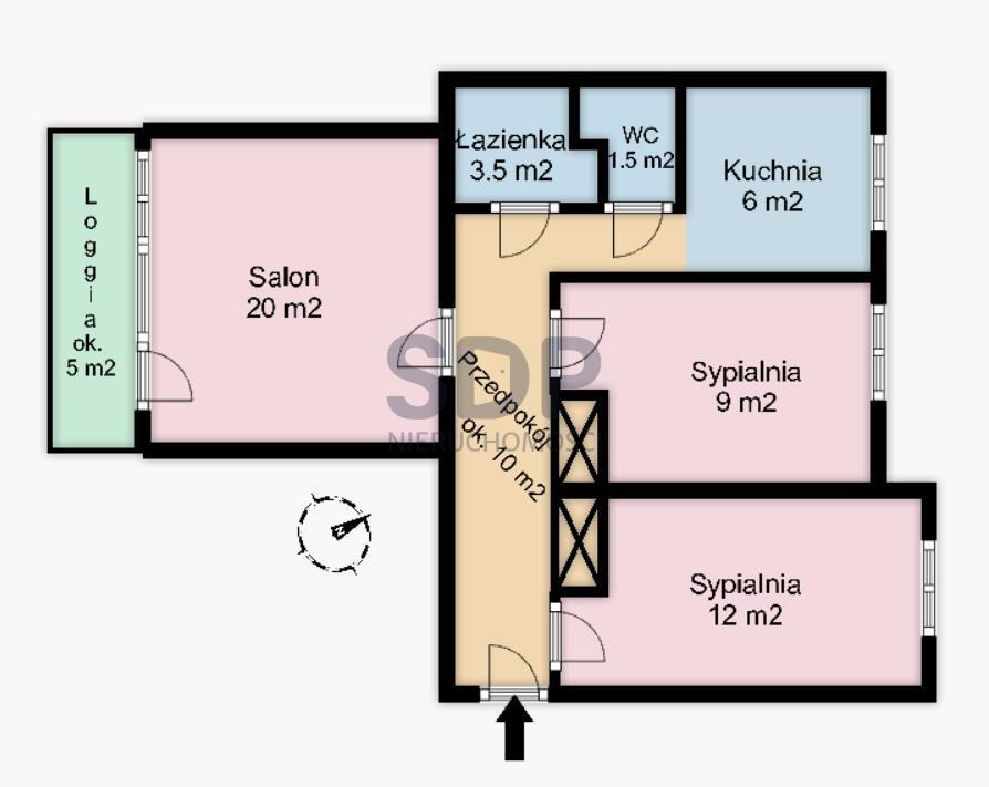 Mieszkanie trzypokojowe na sprzedaż Wrocław, Krzyki, Huby, Gliniana  62m2 Foto 1