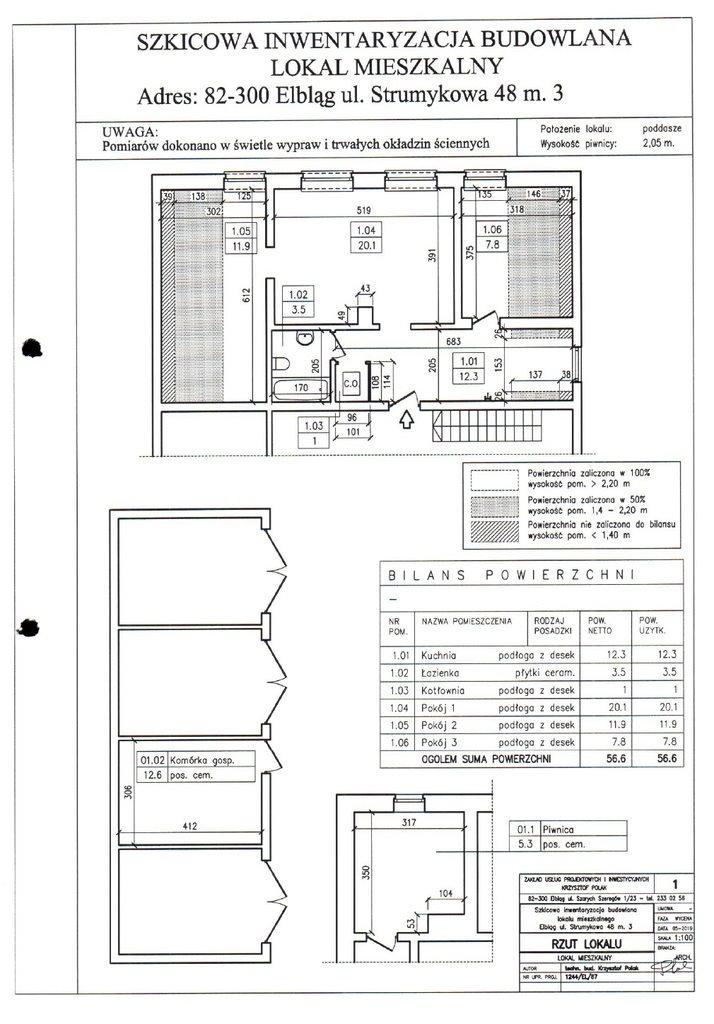 Mieszkanie trzypokojowe na sprzedaż Elbląg, Strumykowa  57m2 Foto 1