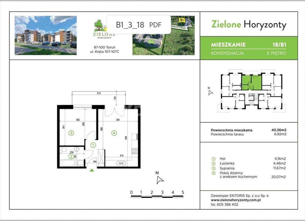 Mieszkanie dwupokojowe na sprzedaż Toruń, Kręta  40m2 Foto 2