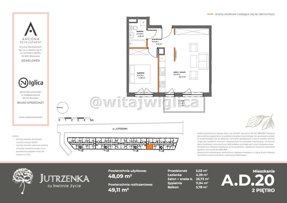 Mieszkanie dwupokojowe na sprzedaż Wrocław, Krzyki, Klecina, Jutrzenki  48m2 Foto 2
