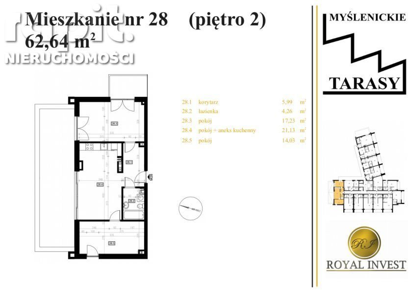 Mieszkanie dwupokojowe na sprzedaż Myślenice  63m2 Foto 2