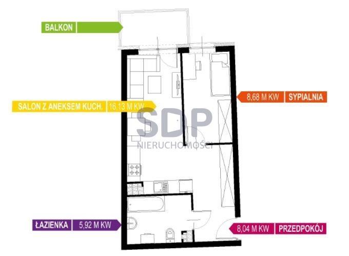 Mieszkanie dwupokojowe na sprzedaż Wrocław, Krzyki, Wojszyce, Buforowa  39m2 Foto 2