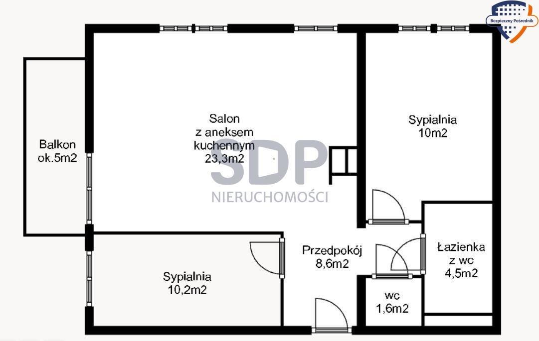 Mieszkanie trzypokojowe na sprzedaż Wrocław, Krzyki, Księże Małe, Księska  58m2 Foto 4