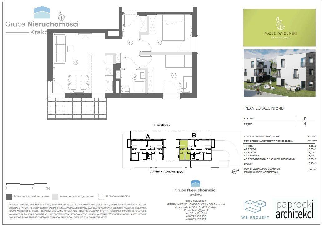 Mieszkanie trzypokojowe na sprzedaż Kraków, Bronowice, Mydlniki, Wincentego Weryhy-Darowskiego  49m2 Foto 1