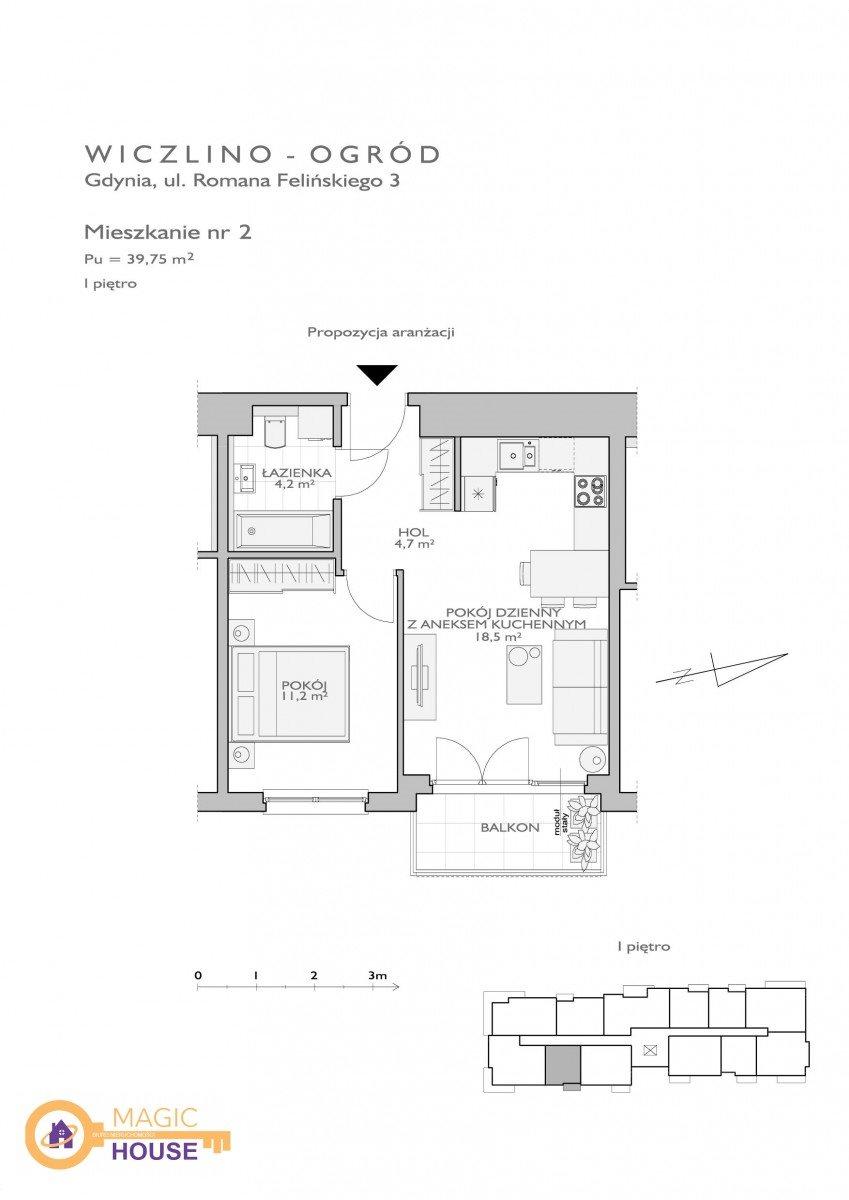 Mieszkanie dwupokojowe na sprzedaż Gdynia, Wiczlino, Romana Felińskiego  40m2 Foto 2