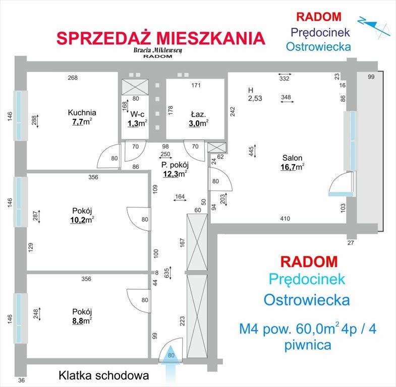 Mieszkanie trzypokojowe na sprzedaż Radom, Prędocinek, Ostrowiecka  60m2 Foto 3