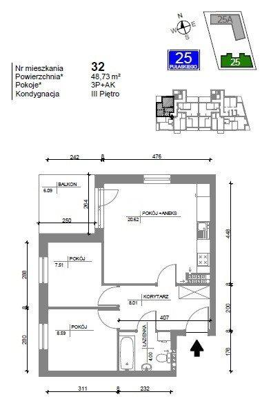 Mieszkanie trzypokojowe na sprzedaż Bydgoszcz, Bartodzieje Wielkie, Kazimierza Pułaskiego  49m2 Foto 7