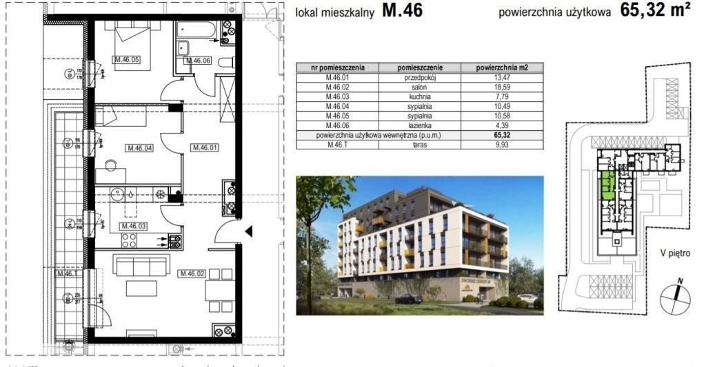 Mieszkanie trzypokojowe na sprzedaż Rzeszów, Krakowska  65m2 Foto 2