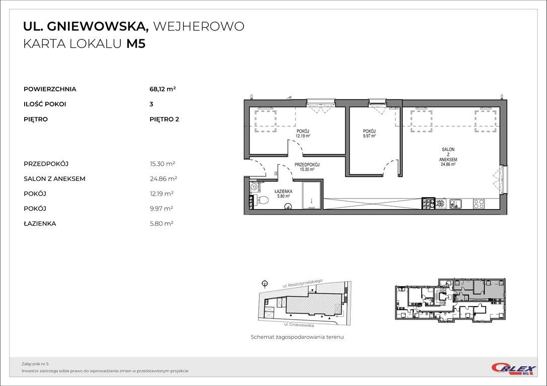 Mieszkanie trzypokojowe na sprzedaż Wejherowo, GNIEWOWSKA 30  68m2 Foto 3